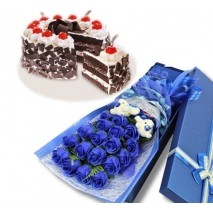 24 blue roses with black forest cake