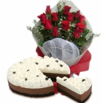12 white roses with red ribbon cake to philippines