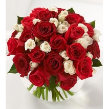 18 Red and 18 White Roses in Vase