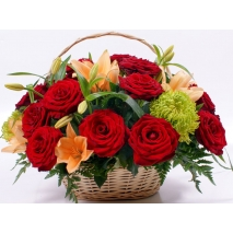 12 red roses and lilies basket