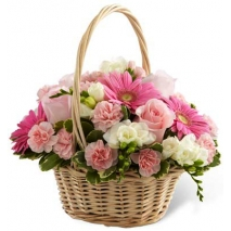 roses with seasonal flowers basket