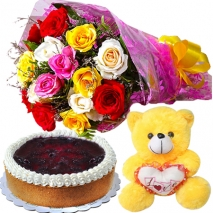 Buy Cheese Cake Bear Mix Roses Bouquet To Philippines