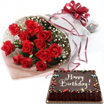 send red roses bouquet with chocolate cake philippines