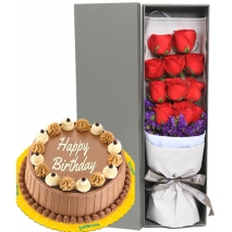 send roses box with triple delight cake philippines