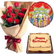 send red roses with mocha cake and balloon to philippines