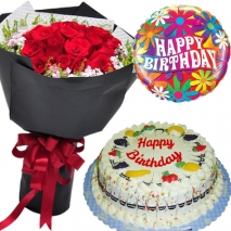 roses bouquet fruity cake and balloon to philippines