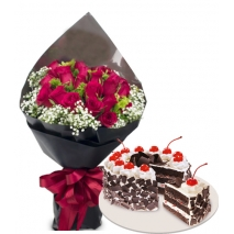 24 Roses with Cake