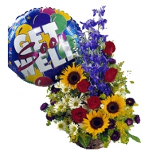 buy mixed flowers basket with balloon philippines