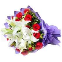 12  Red Roses with 2 Stems White Lilies in a Bouquet