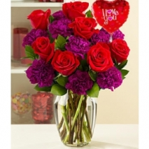 6 Roses & Purple Carnation Send To Philippines