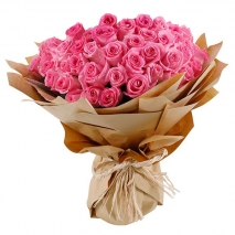 50 pink roses with baby's breath Send To Philippines