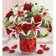 Red and White Roses  with lily Delivery To Philippines
