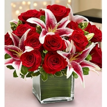 Red Rose and Lily Cube Delivery To Philippines