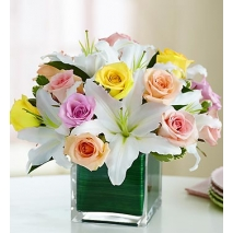 Pastel Rose and Lily Cube Delivery To Philippines