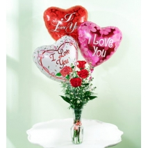 3pcs Roses w/ 3pcs Balloons Delivery To Philippines