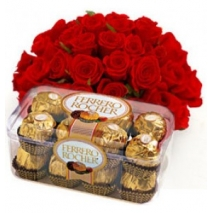 Roses Bouquet with Chocolate Box To Philippines