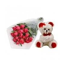 12 Roses With Bear Delivery To Philippines