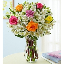 Assorted Rose & Peruvian Lily Vase Delivery To Philippines