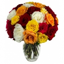 24 Mixed Roses in Vase Send To Philippines