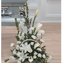 White Funeral Flower Basket Send To Philippines