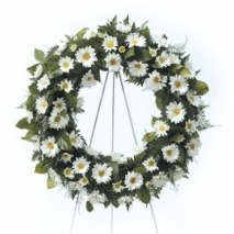 White Daisy Wreath Send To Philippines