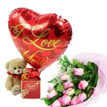 12 pink Roses,small bear with chocolate philippines