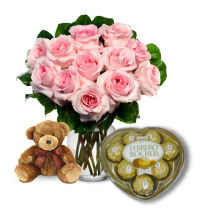 Pink Rose vase,Brown Bear with Ferrero chocolate Send To Philippines