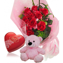 Red Rose bouquet ,Pink Bear with Lindt Chocolate To Philippines