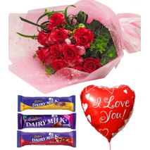 Red Roses,Cadbury Assorted Bars with Love U Balloon To Philippines