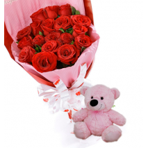 24 Red Roses with small Bear Send To Philippines