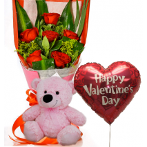 6 Red Roses,Pink Bear with Valentine BalloonTo Philippines