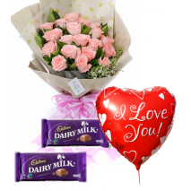 12 Pink Roses,Cadbury Dairy Milk.with Love U Balloon To Philippines