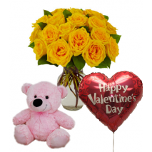 12 Yellow Rose vase,Pink Bear with Valentines BalloonTo Philippines