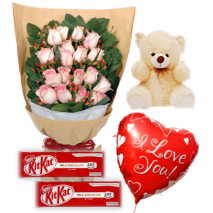 Roses Bouquet,Bear,KitKat Chocolate with Balloon Send To Philippines