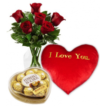 Red Roses,I love U Pillow with Ferrero Chocolate Send To Philippines