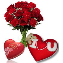 Roses Vase,Lindt Chocolate Box with Wesley Love U Pillow Send To Philippines