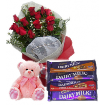 Roses Bouquet,Pink Bear with Cadbury Chocolates Send To Philippines