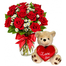 12 Red Roses Vase with Love U Bear Send To Philippines