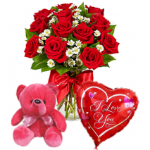 Roses Vase,Red Bear with Love U Balloon Send To Philippines