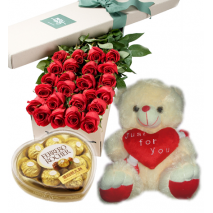 Roses Box,Ferrero Chocolate Box with White Love U Bear Send To Philippines