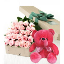 24 Pink Roses Box With Red Bear Send To Philippines