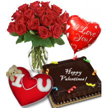 Roses Vase,Chocolate Cake,Love Balloon wtih Love Pillow Send To Philippines