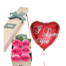 6 Pink Roses Box with I love U Balloon Send To Philippines
