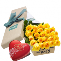 24 Yellow Roses Box with Lindt Chocolate Box Send To Philippines
