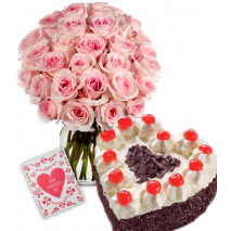 Rose vase with delicious Heart Shaped Black Forest Cake Send To Philippines