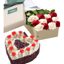 Roses Box with Heart Shaped Black Forest Cake Send To Philippines