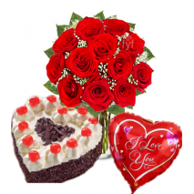 Roses Vase,Love U Balloons with Heart Shaped Black Forest Cake Send To Philippines