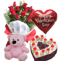 Roses Bouquet,Pink Bear,Balloon with Heart Shaped Black Forest Cake Send To Philippines