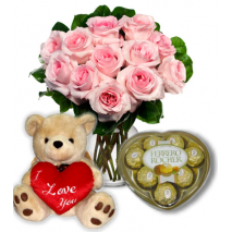 Pink Rose vase,Ferrero rocher chocolate with Bear To Philippines