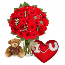 24 Red Rose vase,Bear with Wesley Red Pillow To Philippines